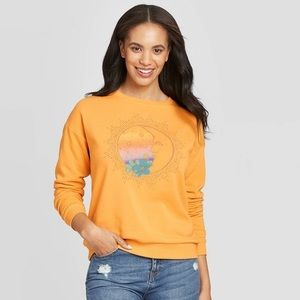 Boho Style Sun Moon Crewneck Pullover Sweater